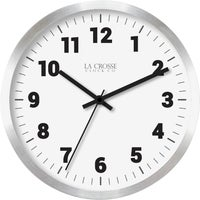 404-2626 La Crosse Technology Round Brushed Silver Metal Wall Clock
