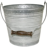 MPT01762 Robert Allen Vintage Ribbed Galvanized Metal Planter