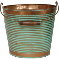 MPT01760 Robert Allen Vintage Ribbed Galvanized Metal Planter
