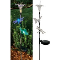 SOT858 Solaris Flower/Insect Trio Solar Stake Light Lawn Ornament SOT858, Solaris Solar Flower/Insect Trio Stake Light Lawn Ornament