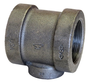 1-1/4 x 1-1/4 x 1/2 in. Threaded 125# Black Cast Iron Reducing Tee