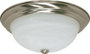 3 Light 60W Flush Mount Ceiling Fixture Bright Nickel