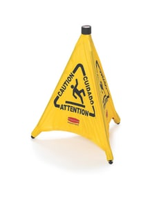 20 in. Pop-Up Caution Sign Safety Cone in Yellow