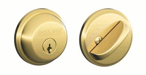 2-3/10 in. Single Cylinder Deadbolt in Bright Brass