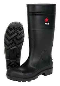 Size 9 Mens PVC Steel Toe Boot in Black