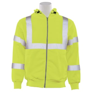 L Size Zip-Up Sweatshirt with Attached Hood in Hi-Viz Lime