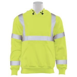 M Size Class 3 Pullover Sweatshirt with Attached Hood in Hi-Viz Lime