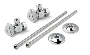 Convertible Quarter Turn Lavatory Supply Kit 1/2 x 3/8 in. Compression x OD Brass Ball Valves
