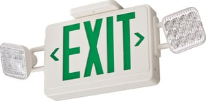 Battery Back Up LED Exit/Emergency Combo Light Green Letters