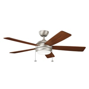 53W 5-Blade Ceiling Fan with 52 in. Blade Span and 1-Light in Brushed Nickel