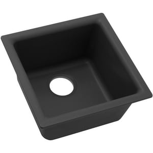 15-3/4 x 15-3/4 in. No-Hole Single Bowl Dual Mount Bar Sink in Black