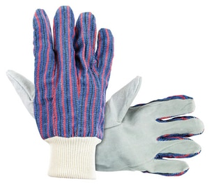 One Size Fits All Knit Wrist Leather Palm Gloves