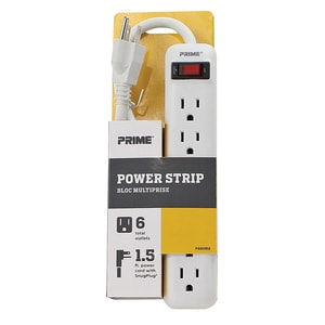Metal Power Strip with Metal 1-1/2 ft. Cord in White and Grey