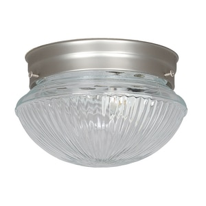 60W Ceiling Mount and Flush Mount Ceiling Fixture with Clear Prismatic in Satin Nickel