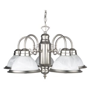 5-Light 60W Down Light Chandelier in Satin Nickel