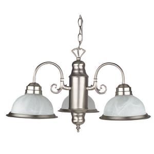 3-Light 60W Down Light Chandelier in Satin Nickel
