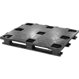 closed deck rackable plastic pallet with 3 bottom skids 48x40, 4100 lbs cap Closed Deck Rackable Plastic Pallet With 3 Bottom Skids 48x40, 4100 Lbs Cap