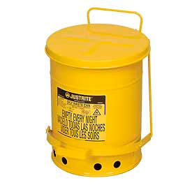 09101 Justrite 6 Gallon Oily Waste Can, Yellow - 09101