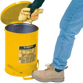 09501 Justrite 14 Gallon Oily Waste Can, Yellow - 09501