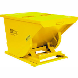 7599YL Wright 7599 3/4 Cu Yd Yellow HD Self Dumping Forklift Hopper with Heavy Gauge Base
