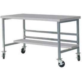 "DSM3663465-GY Mobile 72"" X 36"" Plastic Top Workbench - Gray"