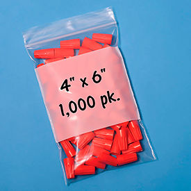 "B14 Resealable Poly Bags With Write-On Label 4"" x 6"" 2 Mil 1,000 Pack"