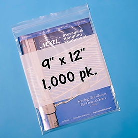 "B24*** Resealable Poly Bags With Write-On Label 9"" x 12"" 2 Mil 1,000 Pack"
