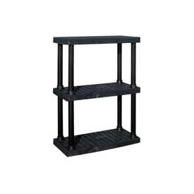 "AS3616X3 Structural Plastic Adjustable Vented Shelving, 36""W x 16""D x 45""H, Black"
