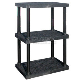 "AS3624X3 Structural Plastic Adjustable Vented Shelving, 36""W x 24""D x 45""H, Black"