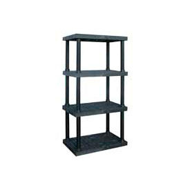 "AS3624X4 Structural Plastic Adjustable Vented Shelving, 36""W x 24""D x 72""H, Black"