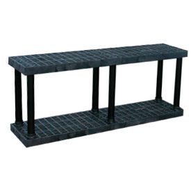 "S6616B Structural Plastic Vented Shelving, 66""W x 16""D x 27""H, Black"