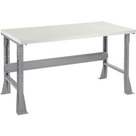 "601422 60""W X 36""D X 34""H Plastic Laminate Square Edge Workbench - Gray"