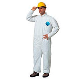 TY120SWHMD002500 Tyvek; Disposable Coverall with Open Ended Wrists/Ankles, M, Case Of 25