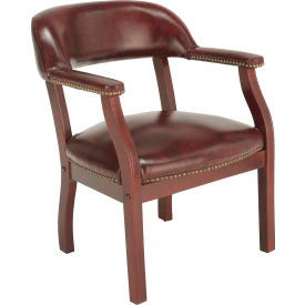 B9540-BY Boss Conference Chair with Arms - Vinyl - Burgundy
