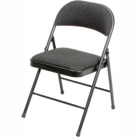 960 Steel Folding Chair with Padded Fabric - Black
