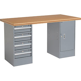"300747 60"" W x 30"" D Pedestal Workbench W/4 Drawers & 1 Cabinet, Shop Top Safety Edge - Gray"