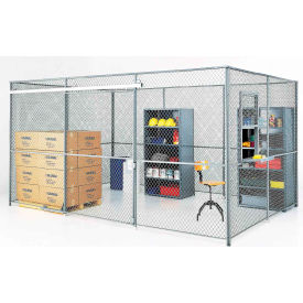 180266A-Wire Mesh Partition Security Room 20x20x10 with Roof - 2 Sides w/ Window