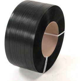 "4825776B58 Polyester Strapping 1/2"" x .025"" x 5,800 Black 16"" x 6""Core"