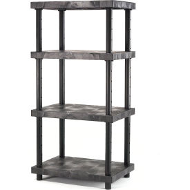 "AST3624X4 Structural Plastic Adjustable Solid Shelving, 36""W x 24""D x 72""H, Black"