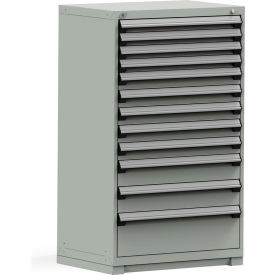 R5PEE-5824KD-71 Rousseau Modular Storage Drawer Cabinet 36x24x60, 12 Drawers (4 Sizes) w/o Divider, w/Lock, Gray