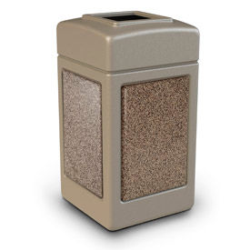 720315 42 Gallon StoneTec; 720315 Square Waste Receptacle - Beige With Riverstone Panels