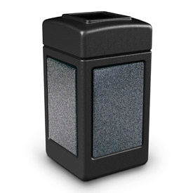 720313 42 Gallon StoneTec; 720313 Square Waste Receptacle - Black With Pepperstone Panels