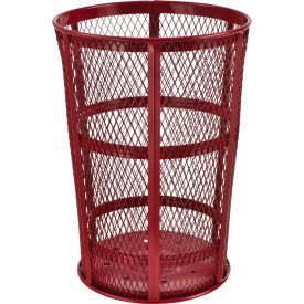 EXP-52P-RD Outdoor Metal Trash Container Red, 48 Gallon