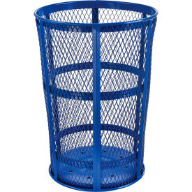 EXP-52P-BL Outdoor Metal Trash Container Blue, 48 Gallon