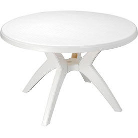 "US526704 Grosfillex; Ibiza Best Value 46"" Outdoor Round Resin Table with Umbrella Hole - White"