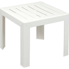 CT052004 Grosfillex; Outdoor End Table With Wood Slat Pattern - White