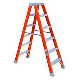 FM1404HD Louisville 4 Dual Access Fiberglass Step Ladder - 375 lb Cap. - FM1404HD