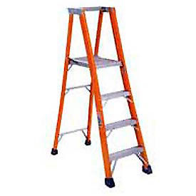 FP1404HD*** Louisville 4 Fiberglass Platform Step Ladder - 375 lb Cap. - FP1404HD