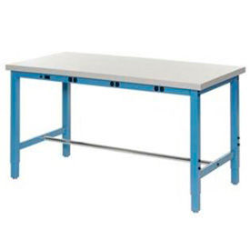 "606976BBL 60""W x 30""D Production Workbench with Power Apron - Plastic Laminate Square Edge - Blue"