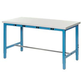 "607001BBL 60""W x 36""D Production Workbench with Power Apron - Plastic Laminate Safety Edge - Blue"